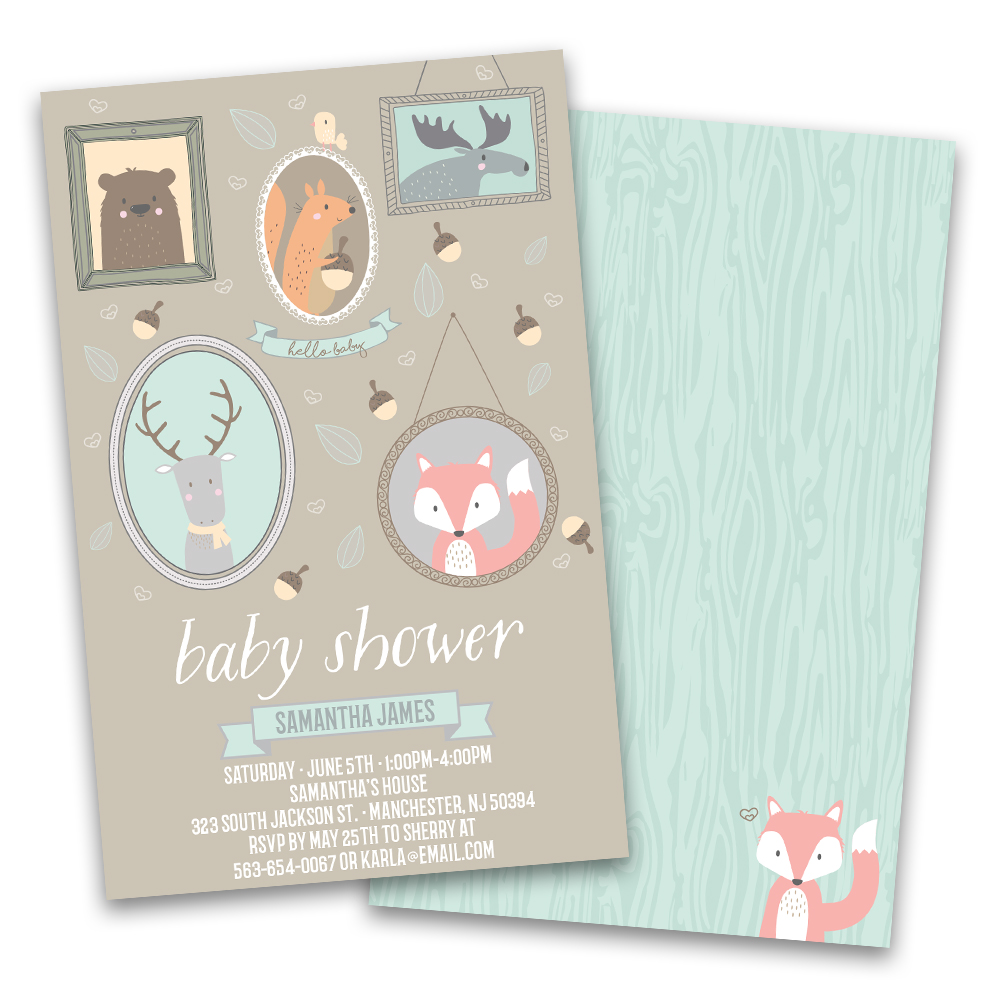 Personalized Woodland Creatures Personalized Baby Shower Invitations