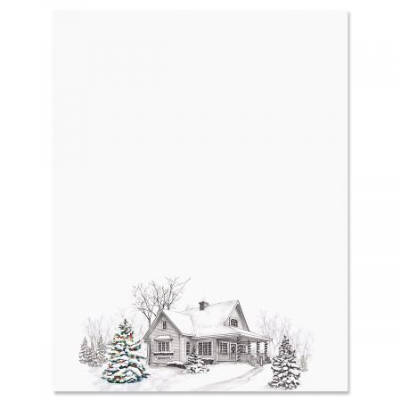 """Winter Home Christmas Letter Papers - Set of 25 Christmas stationery papers are 8 1/2"""" x 11"""", compatible computer paper"""