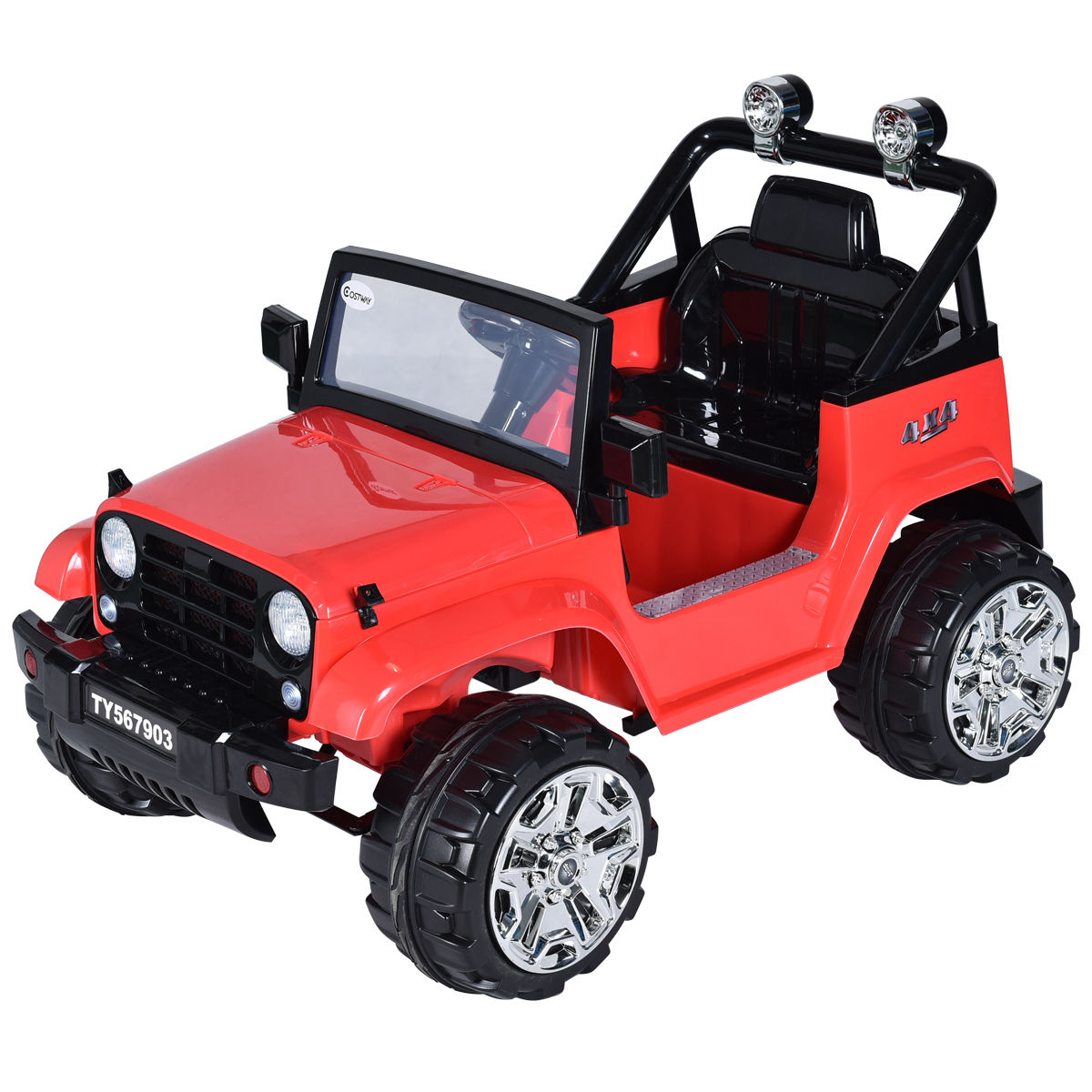 Costway 12V Kids Ride on Truck Jeep Car RC Remote Control w  LED Lights Music MP3 Red by Costway