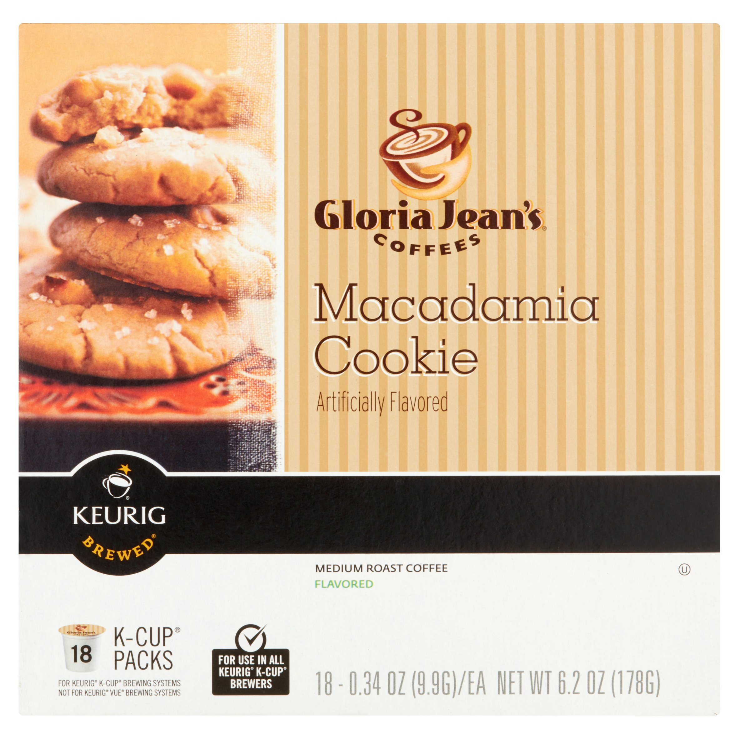 Gloria Jean's Coffee Macadamia Cookie Medium Roast Coffee, 0.34 oz, 18 count