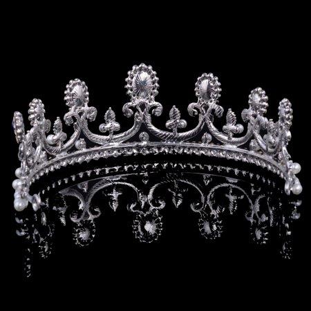 Meigar Blue Crystal Rhinestone Bridal Tiara Princess Pearls Crown Wedding Prom Headband - image 1 de 6