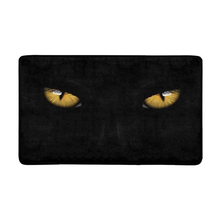Halloween Themes For Office Groups (MKHERT Yellow Eyes Black Panther On Dark Background Halloween Theme Doormat Rug Home Decor Floor Mat Bath Mat 30x18)