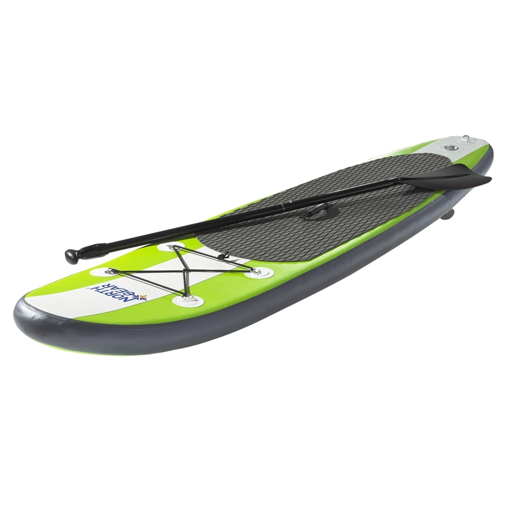 North Gear 11FT Inflatable SUP Stand up Paddle Board Package Set White Lime Green by