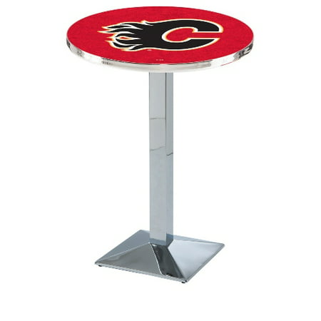 NHL Pub Table by Holland Bar Stool, Chrome Calgary Flames, 36'' L217 by
