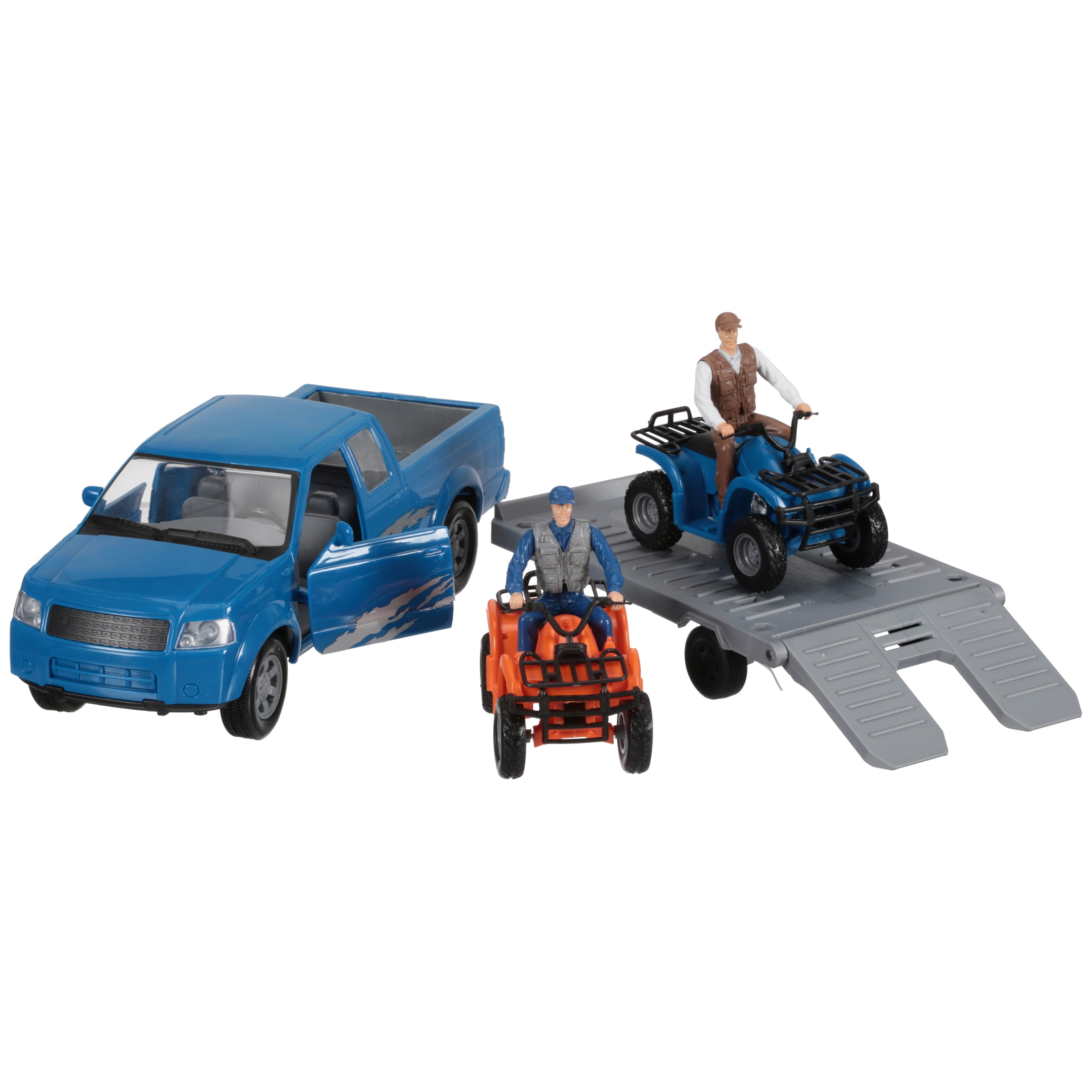 New Ray Extreme Adventure Blue Pick-Up Truck with Trailer & ATV 6 pc Box by New-Ray Toys (CA) Inc.