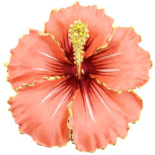 Goldtone Hawaiian Hibiscus Crystal Flower Brooch Peach