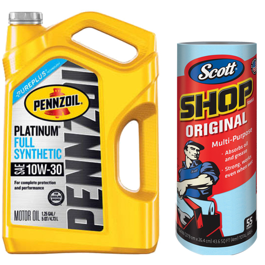 Pennzoil 10W30 Full Synthetic Platinum Motor Oil, 5 qt with Scott 'Original Blue' Shop Towels, (1 Roll of 55 sheets) Kimberly-Clark Bundle