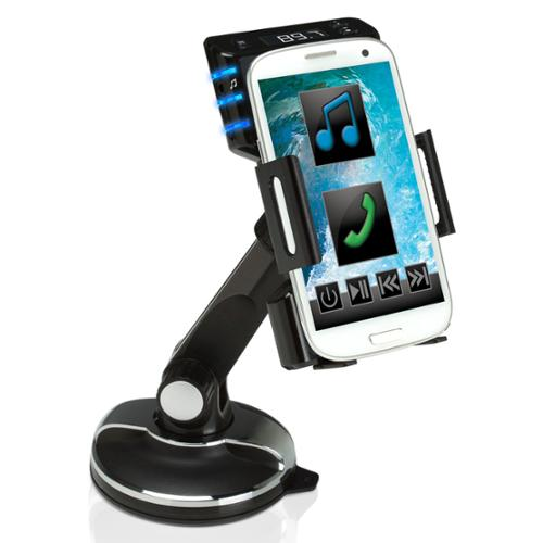 GOgroove FlexSMART SP4 Windshield / Dashboard Cradle Mount & FM Transmitter for Audio Playback & Hands-free Calling - Works with Apple iPhone 6 , HTC One M9 , Samsung Galaxy S6 & More Smartphones