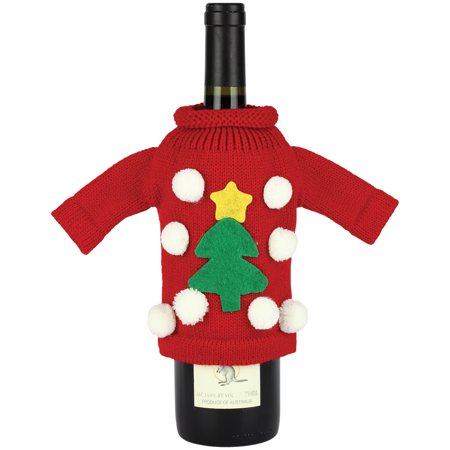 Ugly Christmas Sweater Festive Seasonal Wine Bottle Cover - Great Xmas Gift