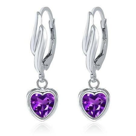 1.48 Ct Heart Shape Purple Amethyst 925 Sterling Silver (Amethyst Heart Earrings)