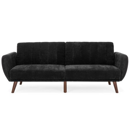 Best Choice Products 81in Velour Fold Down Futon Sofa Bed Lounger with Rib Tufted Back and Wood Frame,
