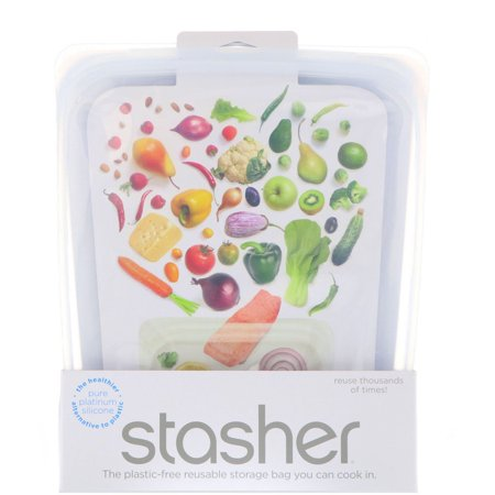 Stasher, Reusable Silicone Food Bag, Half Gallon Bag, Clear, 64.2 fl oz (1.92 l)