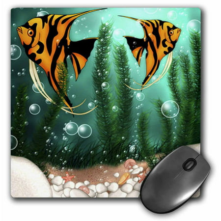 3dRose 2 Cute Fish With Bubbles In Aquarium, Mouse Pad, 8 by 8 inches