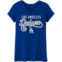 Girls Youth Royal Los Angeles Dodgers Basic Swirl V-Neck T-Shirt