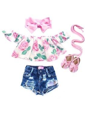 42d79ad08 Product Image Baby Girl Kids Summer Toddler Outfits Clothes T-shirt Tops+Shorts  Pants 2PCS Set. Honganda
