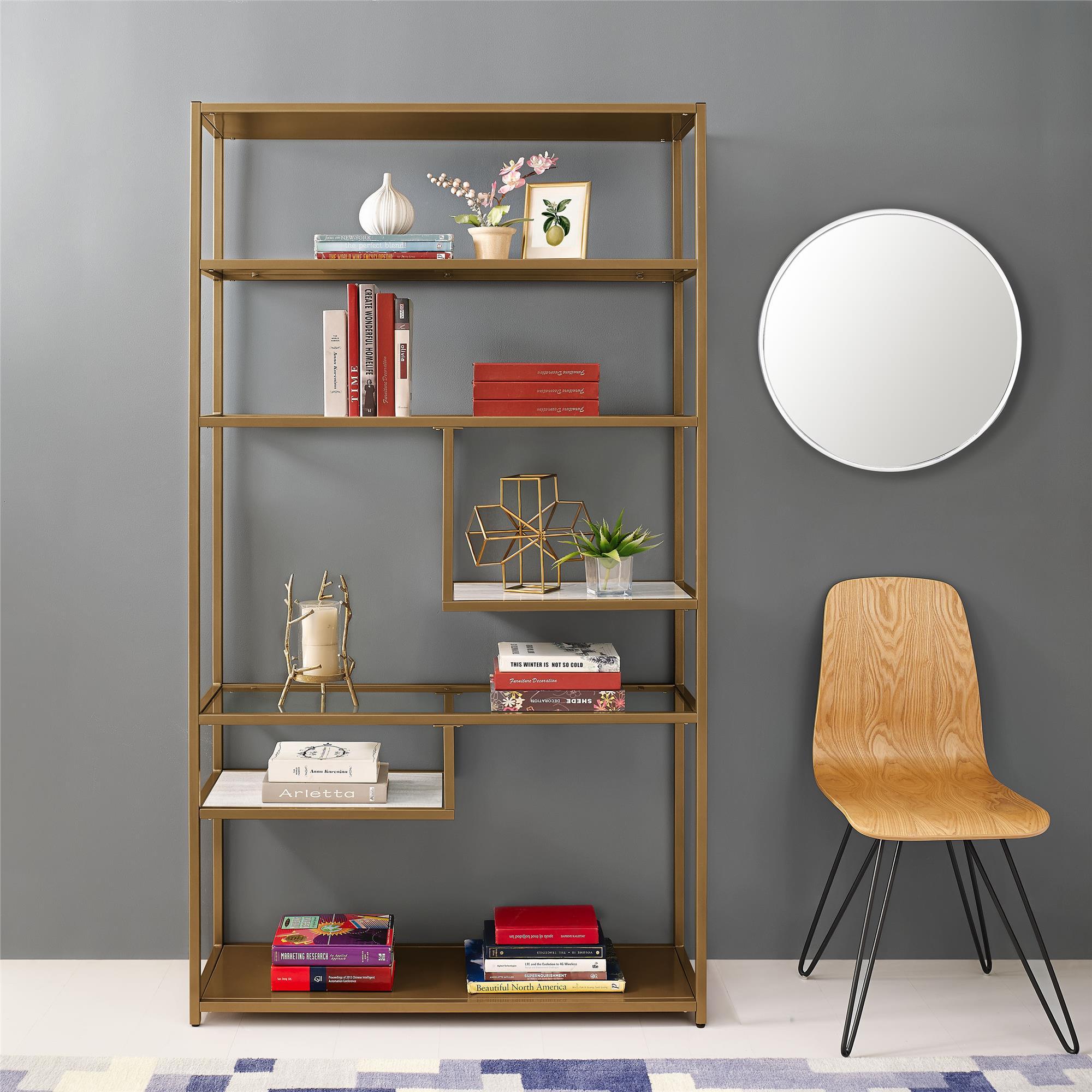 Dorel Living Moriah Geometric Bookcase Etagere, Brass by Dorel Living
