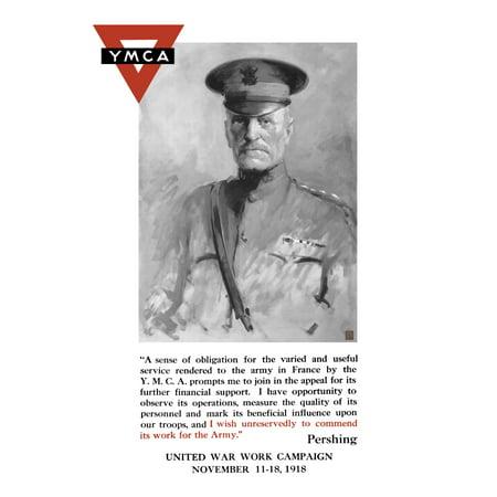 Vintage World War One poster of General John Pershing and the YMCA logo Canvas Art - John ParrotStocktrek Images (24 x 35)