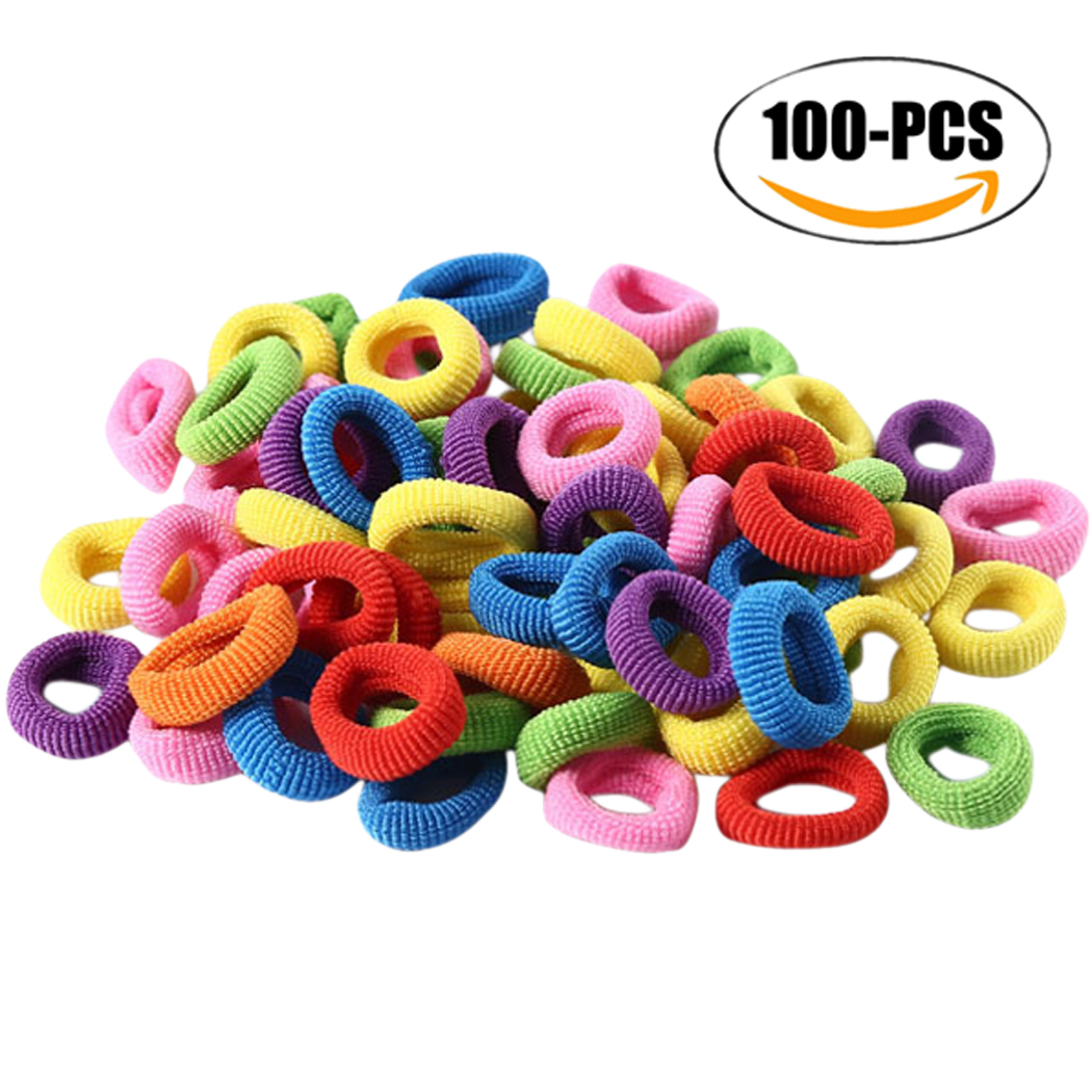 Coxeer 100Pcs Girls Hair Ties Assorted No Crease Elastic Hair Ties Rope Hair Bands Rope for Kids