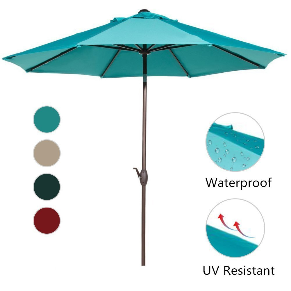 Abba Patio 9 Ft Aluminum Market Umbrella with Push Button Tilt and Crank, 8 Steel Ribs,... by Outdoor Umbrellas