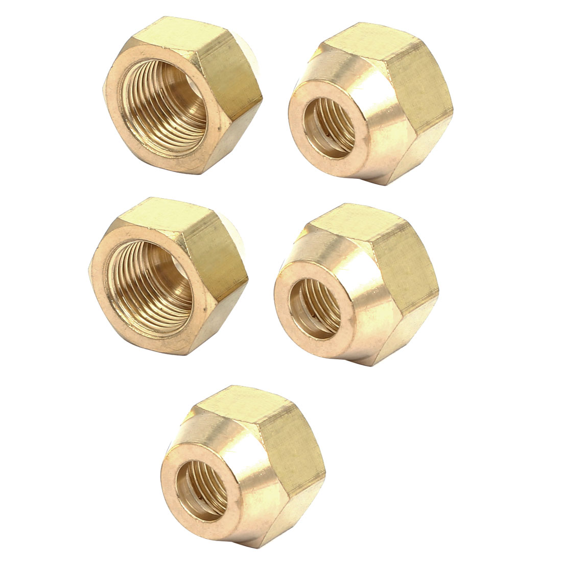 3/8BSP Brass Flare Nuts Air Conditioner Parts Fittings 5pcs for 10mm Dia Pipe