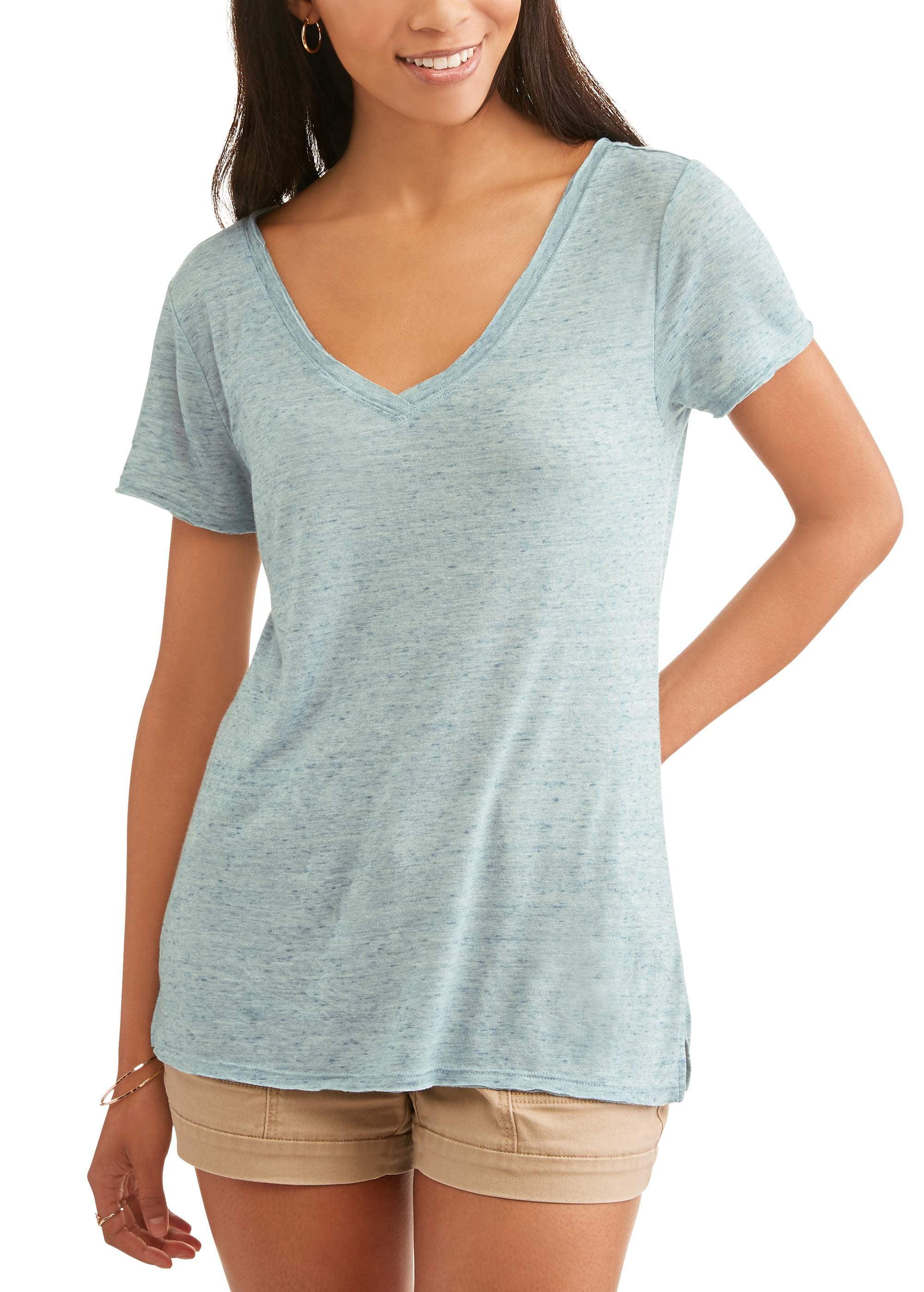 Women's Short Sleeve Vneck Burnout Side Slit T-Shirt
