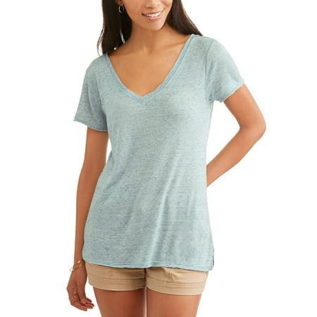 Womens Open Neck Shirt - Women's Short Sleeve Vneck Burnout Side Slit T-Shirt