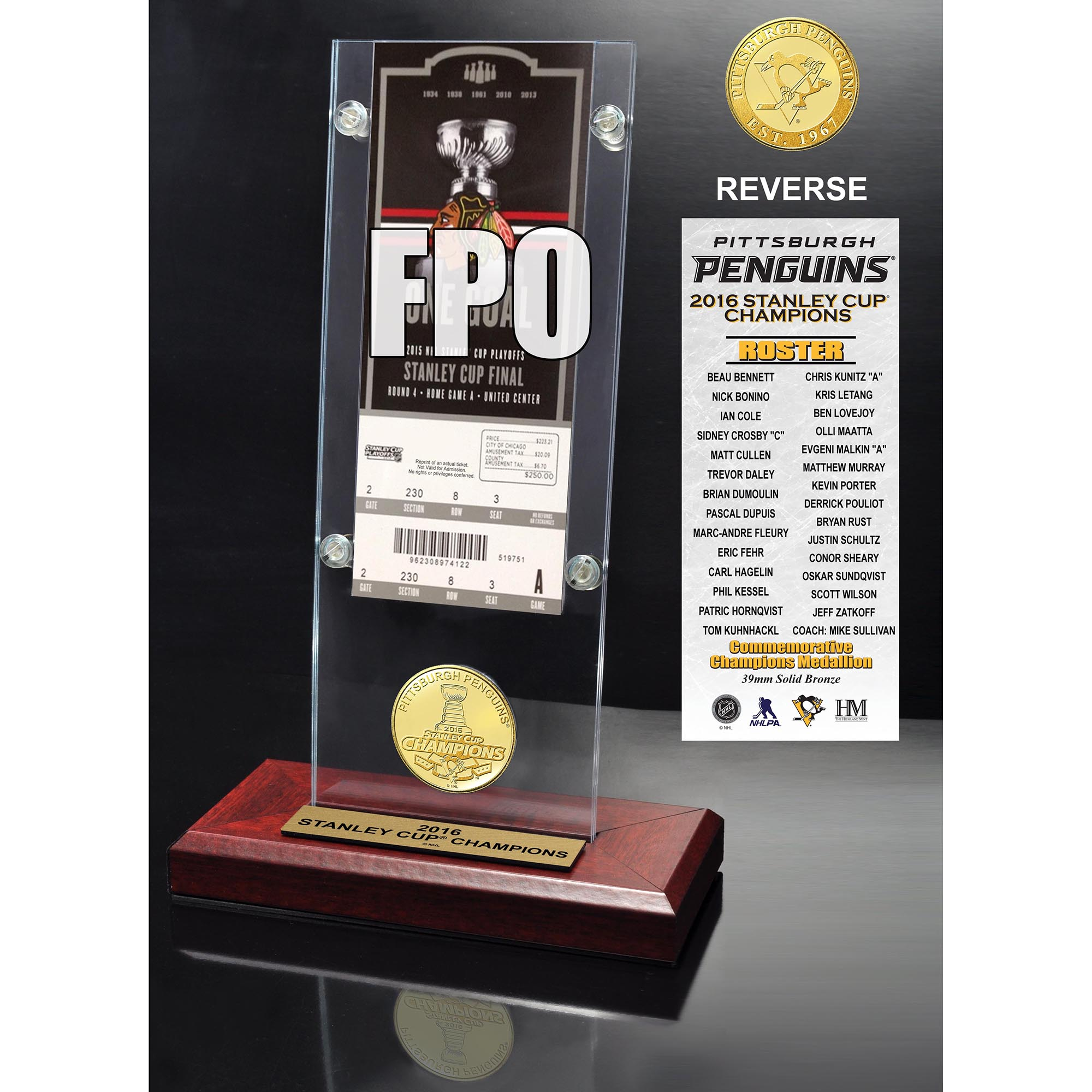 "Pittsburgh Penguins Highland Mint 2016 Stanley Cup Champions 3.5"" x 9"" Ticket & Bronze Coin Acrylic Desk Top - No Size"