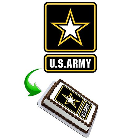 US Army Cake Edible Image Cake Topper Personalized Birthday 1/4 Sheet Decoration Custom Sheet Party Birthday Sugar Frosting Transfer Fondant Image Edible Image for cake