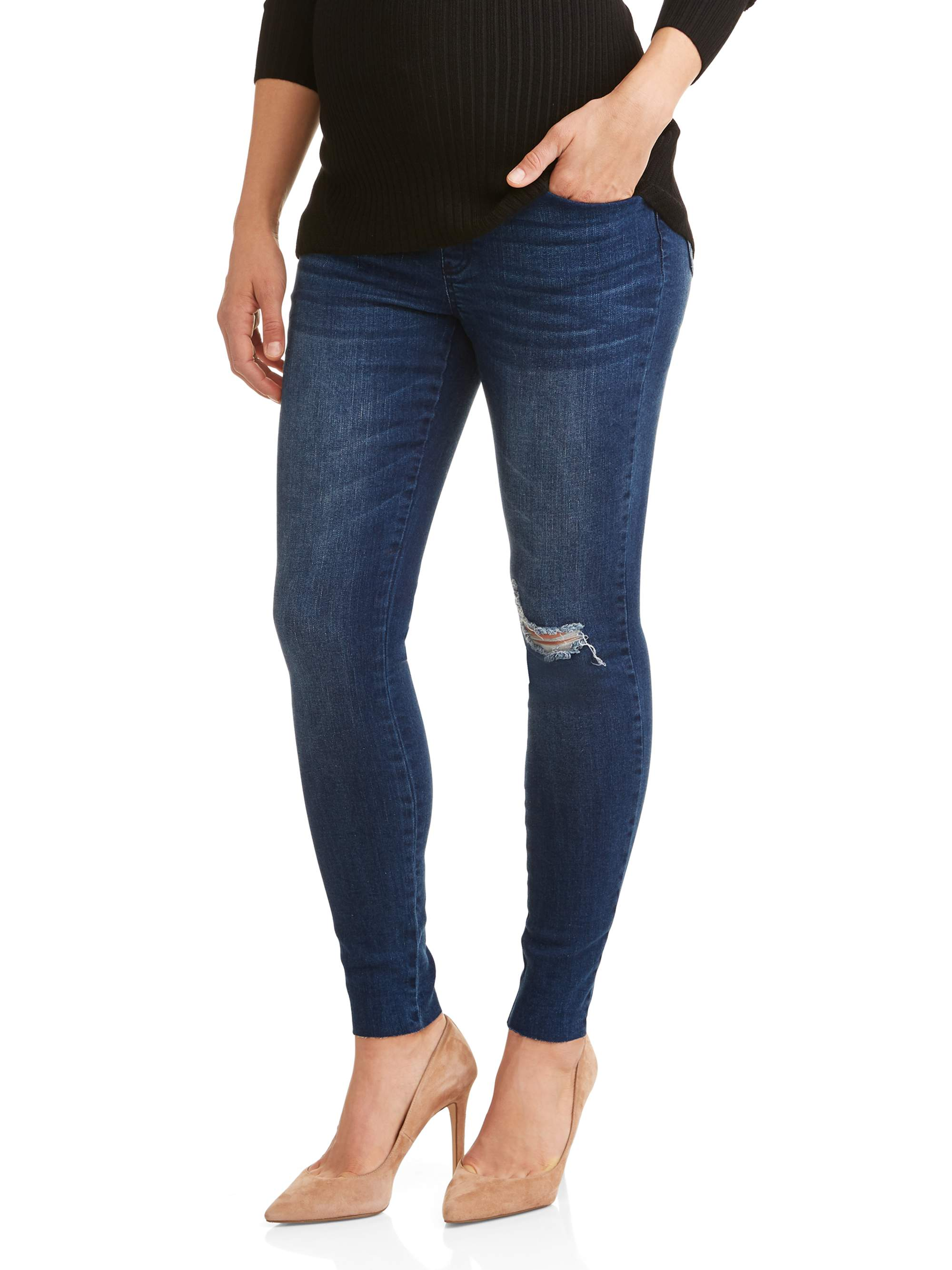 Maternity Over the Belly Destructed Stretch Denim Raw Edge Skinny Jean