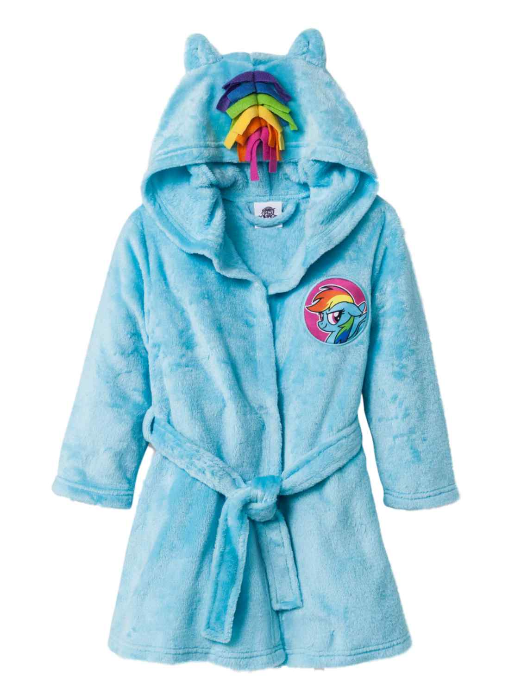 My Little Pony Toddler Girls Blue Fleece Rainbow Dash Bath Robe Housecoat