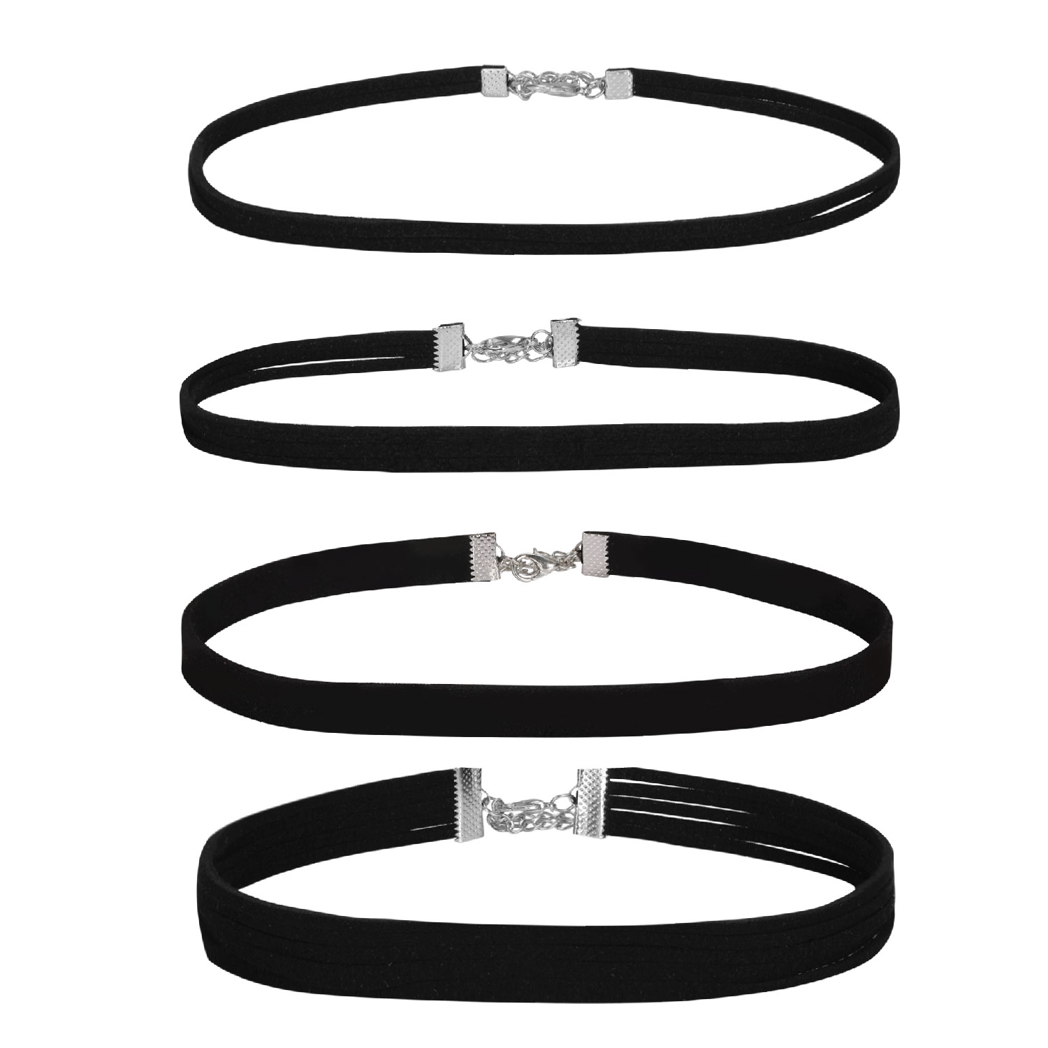 BodyJ4You Choker Necklace Layer Black Velvet Set Ribbon Gothic Collar 4 Pieces