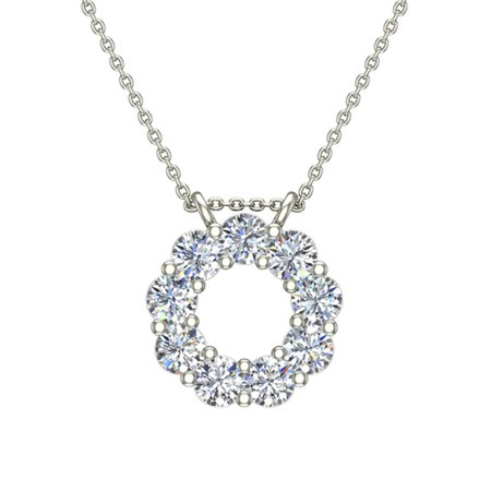 0.80 ct Circle Diamond Pendant Necklace 14K White Gold with 20