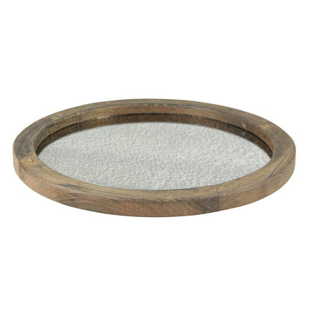Round Wooden Serving Tray with Antique Mirror ()