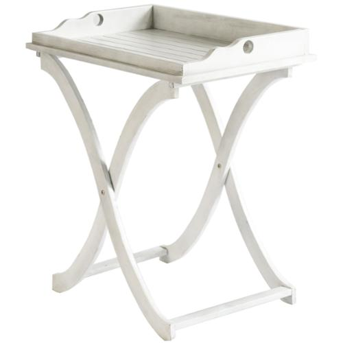 Safavieh  Outdoor Living Covina Antiqued White Acacia Wood Folding Tray Table