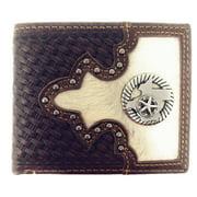 Western Genuine Woven Leather Cowhide Mens Bifold Short Wallet in Multi Emblem