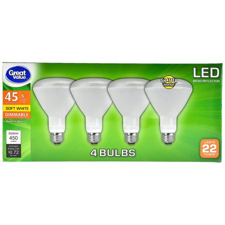 Great Value LED Light Bulb, 6W (45W Equivalent) BR30 Reflector Lamp E26 Medium Base, Dimmable, Soft White, 4-Pack