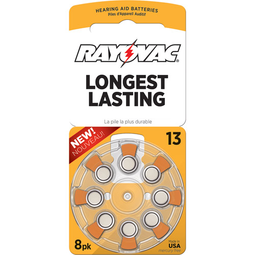Rayovac Type 13 Hearing Aid Batteries, 8-Pack