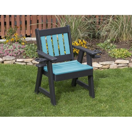 Amish Poly Lumber - Outdoor Garden Lawn Exterior Aruba Blue Finish 2 Ft Poly Lumber Mission Everlasting Amish Crafted Chair With Cupholder Arms