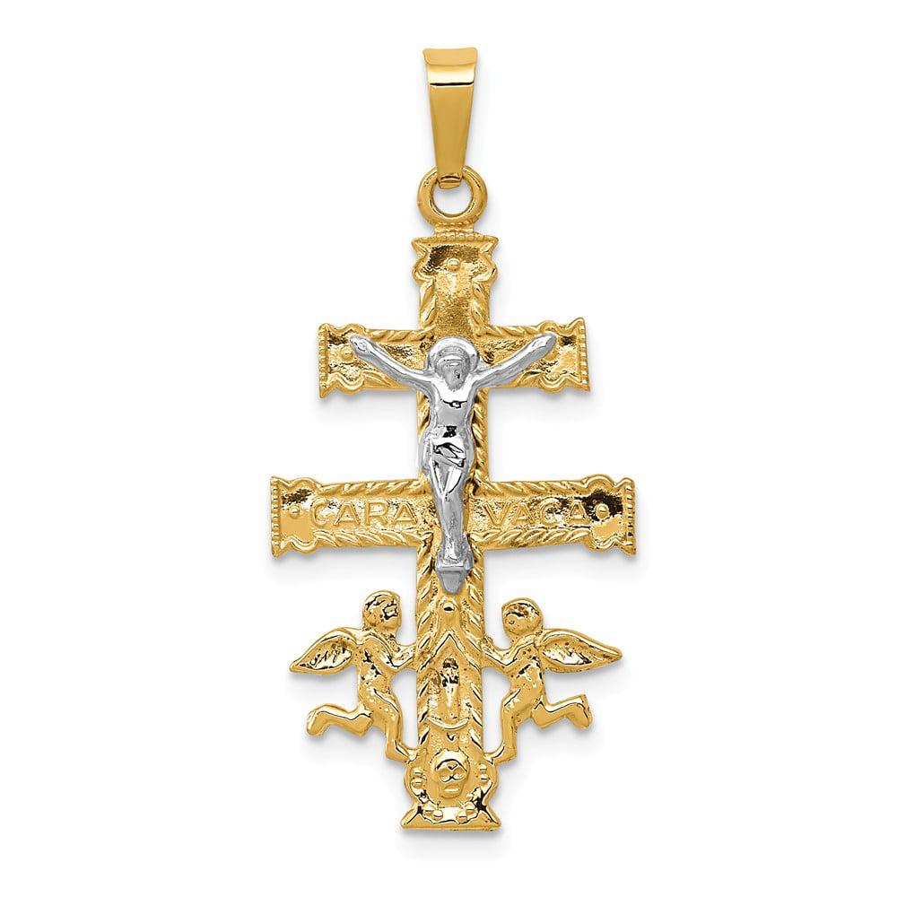 14k Two Tone Gold Cara Vaca Crucifix Pendant