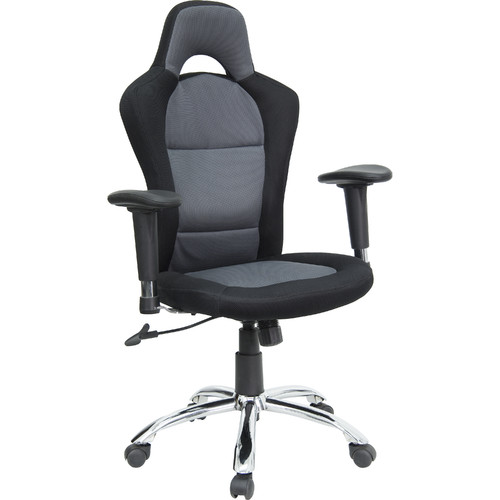 Wonderful Race Car Style Bucket Seat Office Chair With Arms, Black And Gray