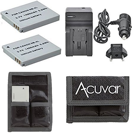 2 NB-4L Rechargeable Batteries + Car / Home Charger + Acuvar Battery Pouch for Canon PowerShot ELPH Series 100 HS, 300 HS, 310 HS, 330 HS, TX1, Digital Series 40, 50 and Other