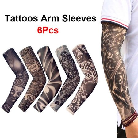 6 pcs Tattoos Cooling Arm Sleeves Cover Sport Basketball Golf UV Sun (Half Sleeve Tattoos For Men Black And White)