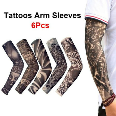 6 pcs Tattoos Cooling Arm Sleeves Cover Sport Basketball Golf UV Sun Protection](Halloween Fake Tattoos Sleeve)