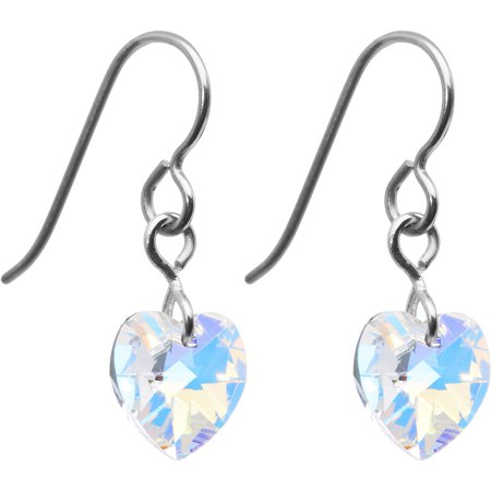 Solid Titanium Clear Heart Earrings Created with Swarovski Crystals