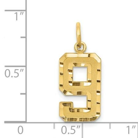 14K Yellow Gold 14ky Casted Medium Diamond Cut Number 9 Charm - image 1 de 2