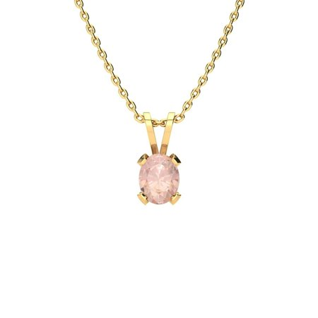 1/2 Carat Oval Shape Morganite Necklace In 14K Yellow Gold Over Sterling Silver, 18 Inches - Pink