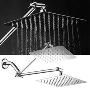 HotelSpa Mega-Size 8-inch Stainless Steel Square Rainfall Shower Head with 12-inch Shower Arm