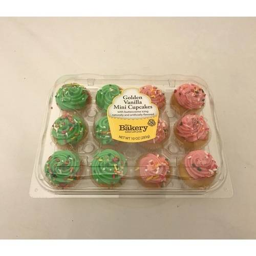 The Bakery At Walmart Mini Golden Vanilla Cupcakes With Buttercreme Icing, 10 oz