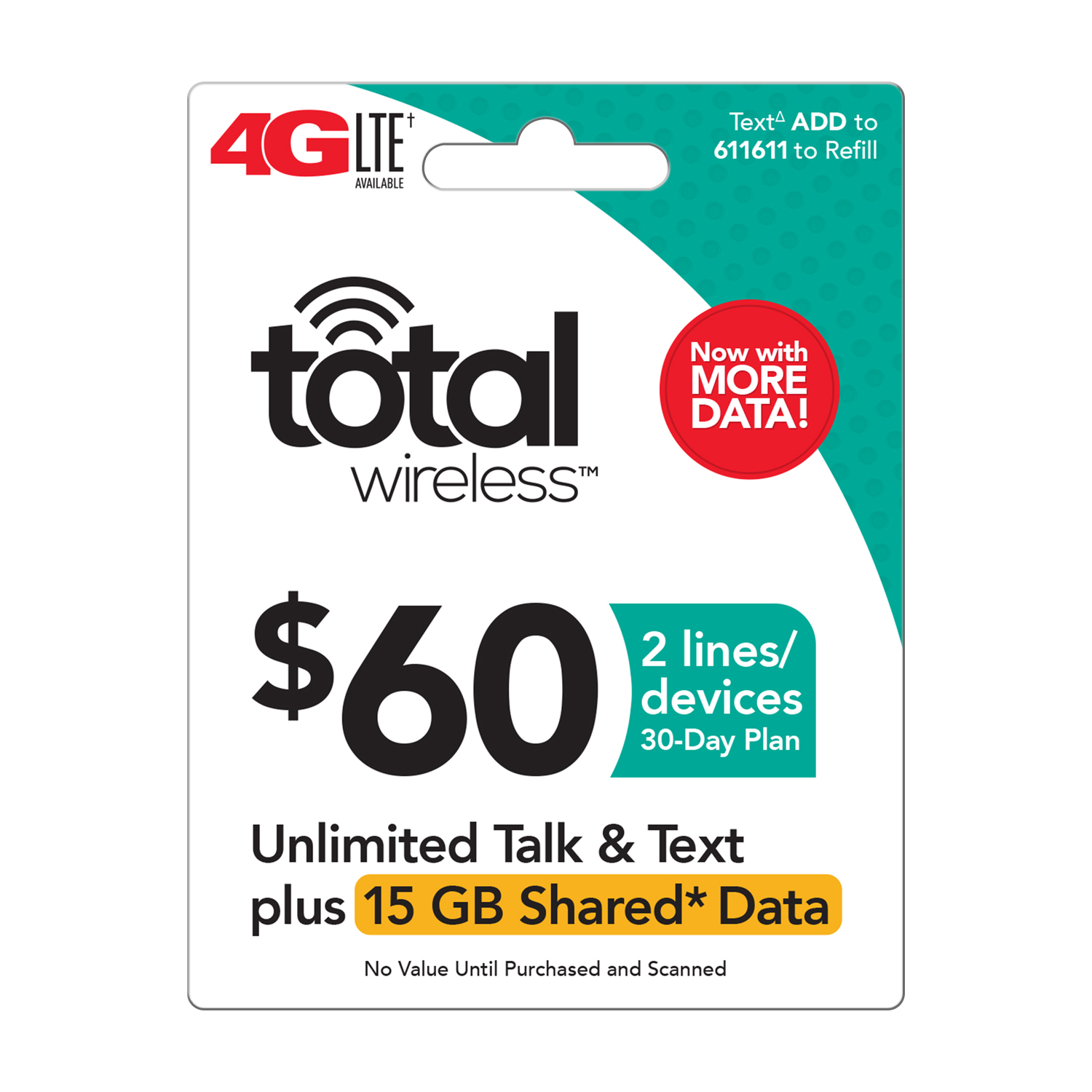 Total Wireless $60 Shared* Family Plan (Email Delivery)