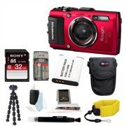 Olympus TG-4 16 MP Waterproof Digital Camera (Red) with Accessory Bundle